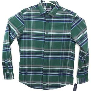 Club Room Mens Button Down Shirt Green Blue Plaid